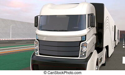 Fleet of hybrid trucks - Fleet of autonomous hybrid trucks...