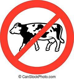 fleisch, kuh, laktose, verboten, milch, (no, zeichen, verbot, symbol, icon)