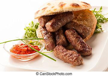 fleisch, lebensmittel, foto, balkanisch, -, traditionelle ,...
