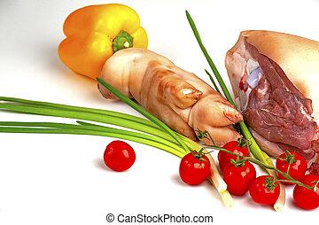fleisch, rohkost-gemüse