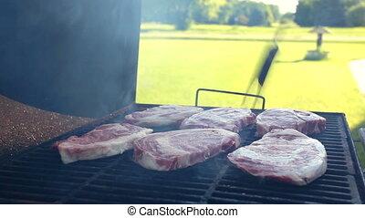 fleischsteak, auf, der, grillfest