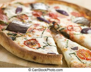 fleischtomaten, mozzarella, aubergine, und, basilikum, pizza