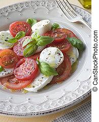 fleischtomaten, mozzarella käse, und, basilikum, salat