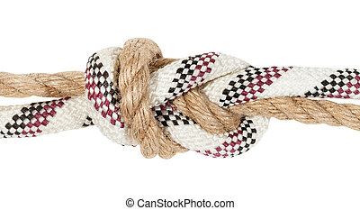 flemish bend joining two ropes close up isolated on white ...