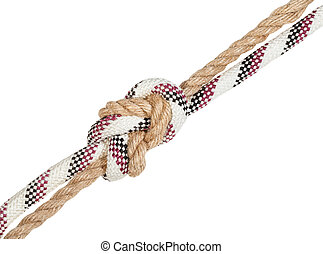 flemish bend joining two ropes isolated on white background