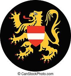 Vector round flag Flemish Brabant province of Flanders Belgium region