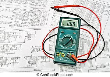 flera, planerna, av, elektrisk, och, elektrisk, provare