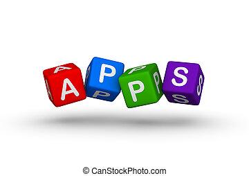flerfärgad, apps, symbol