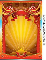 flerfärgad, cirkus, affisch