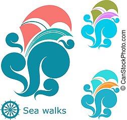 flerfärgad, fartyg, waves., sätta, vit, yacht, vågor, hav, bakgrund.