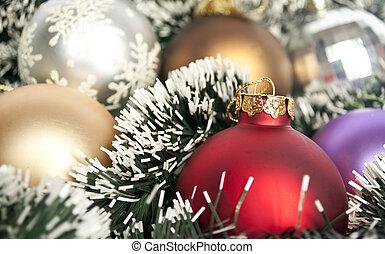 flerfärgad, jul ornamenter, bakgrund