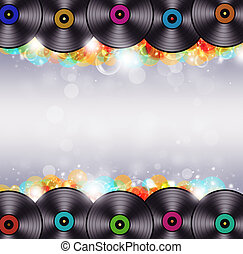flerfärgad, musik, vinyl, bakgrund