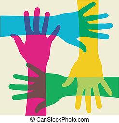 flerfärgad, teamwork, räcker