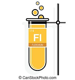 Flerovium symbol on label in a yellow test tube with holder. Element number 114 of the Periodic Table of the Elements - Chemistry