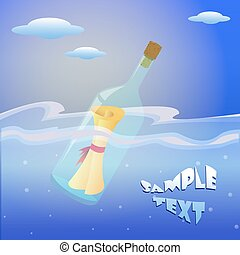 fles, boodschap, wensen, sea., illustratie