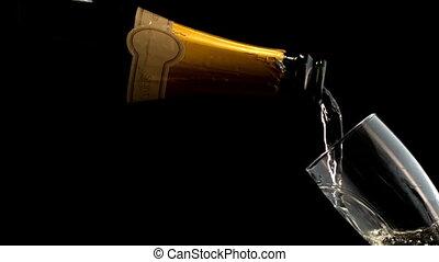 fles, champagne, vullen, fluit
