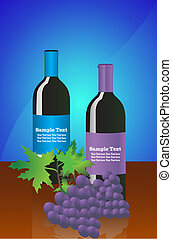 fles, druiven, wijntje