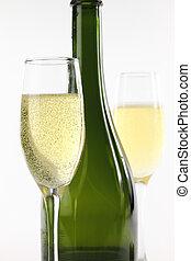 fles, en, bril van de champagne