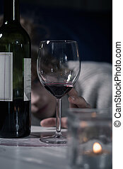 fles, en, glas van de wijn