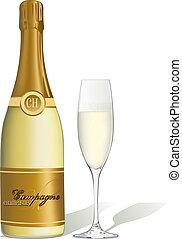 fles, glas, champagne