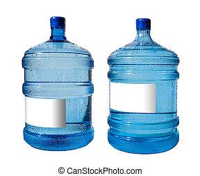 fles, groot, vrijstaand, water, achtergrond, witte