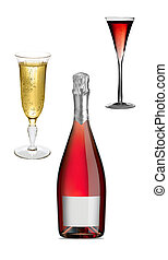 fles, met, bril van de champagne