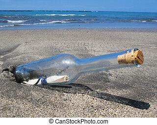 fles, met, een, boodschap, op, de, zwart zand, van,...