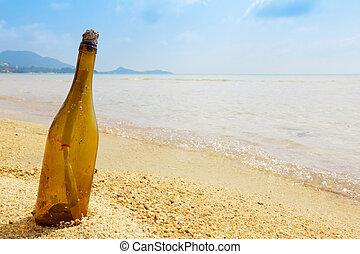 fles, met, een, boodschap, op, tropisch eiland