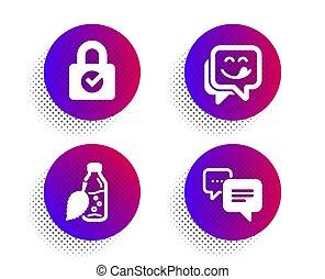 fles, set., glimlachen, encryption, vector, water, wachtwoord, boodschap, teken., yummy, punten, iconen