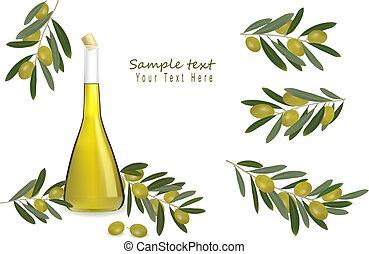 fles, van, olijvenolie, met, olijven