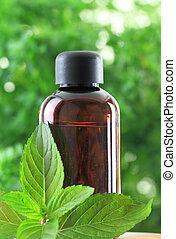 fles, van, pepermunt, essentiële olie