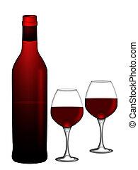 fles van rode wijn, met, twee, wijnglasen, vrijstaand, op wit, achtergrond, illustratie