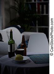 fles van wijn, en, bier