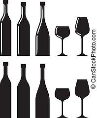 fles van wijn, en, glas