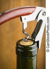 fles van wijn, met, corkscrew.