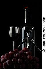 fles van wijn, met, glas