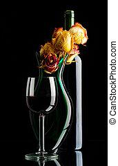 fles van wijn, met, vaas