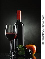 fles van wijn, met, vruchten