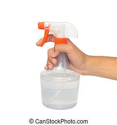 fles, wasserij, vasthouden, whiter, op, vrijstaand, hand, ...