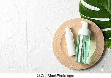 flessen, blad, schaaltje, ruimte, schrob, kopie, palm, hout,...