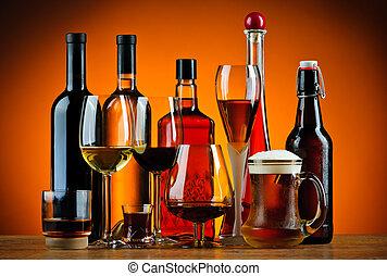 flessen, en, bril, van, alcohol, dranken
