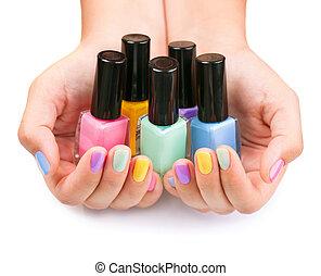flessen, kleurrijke, spijker, polish., pools, manicure.