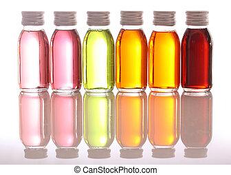 flessen, met, wezenlijke olies