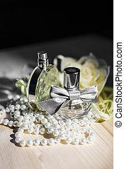 flessen, parels, twee, parfum, 2, vrouwlijk