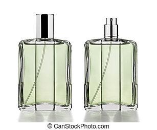 flessen, parfum, vrijstaand, witte