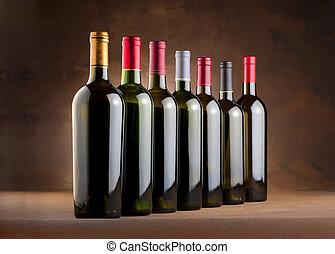 flessen, rode wijn