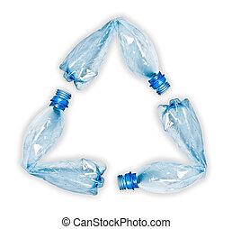 flessen, symbool, op, plastic, hergebruiken, vervaardiging