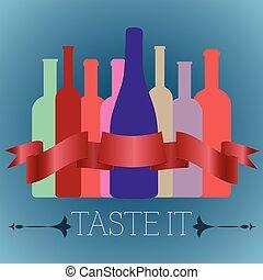flessen van de wijn, van, anders, gedaantes