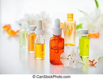 flessen, van, essentieel, aromatische olieën