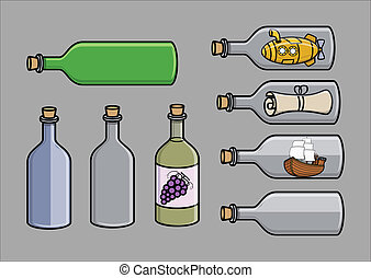 flessen, vector, set, kurk